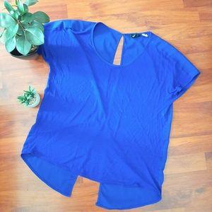 H&M open back lightweight flowy indigo blouse S
